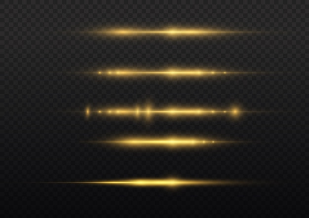Rayons lumineux horizontaux, pack de fusées éclairantes à lentille jaune flash, faisceaux laser, ligne jaune éclatante.