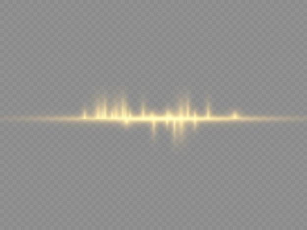 Rayons lumineux horizontaux, pack de fusées éclairantes à lentille jaune flash, faisceaux laser, ligne jaune lueur,