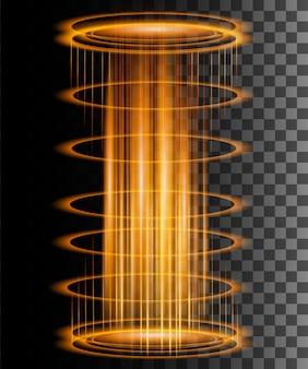 Rayons lumineux ronds avec des étincelles portail fantastique magique téléportation futuriste