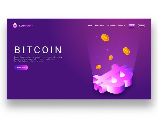 Rayons numériques provenant du symbole bitcoin 3d
