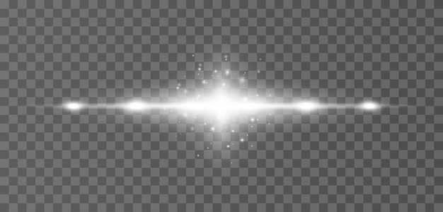 Rayons de reflets horizontaux blancs