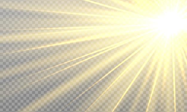 Rayons de soleil avec faisceaux isolés sur fond transparent