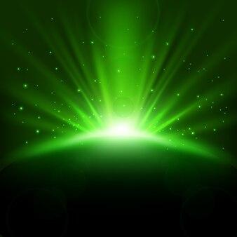 Rayons verts en hausse de fond avec des étincelles