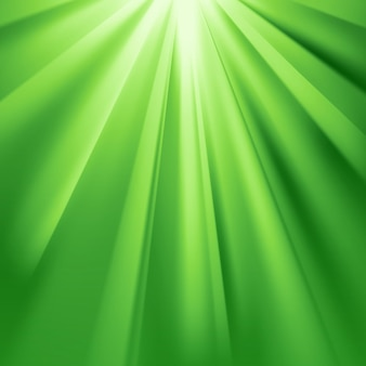 Les rayons verts s'embrasent avec effet éblouissant et transparence. illustration vectorielle