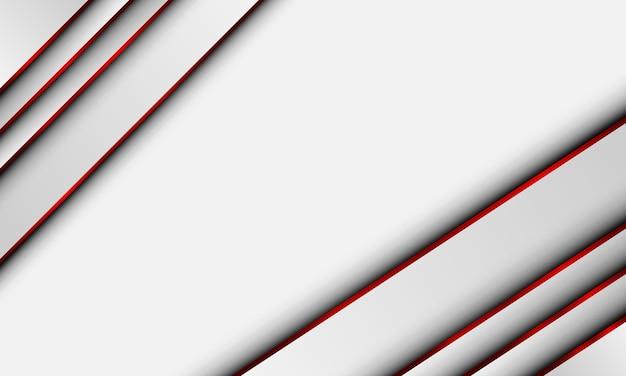 Rayures diagonales blanches avec ligne rouge isolé sur fond blanc