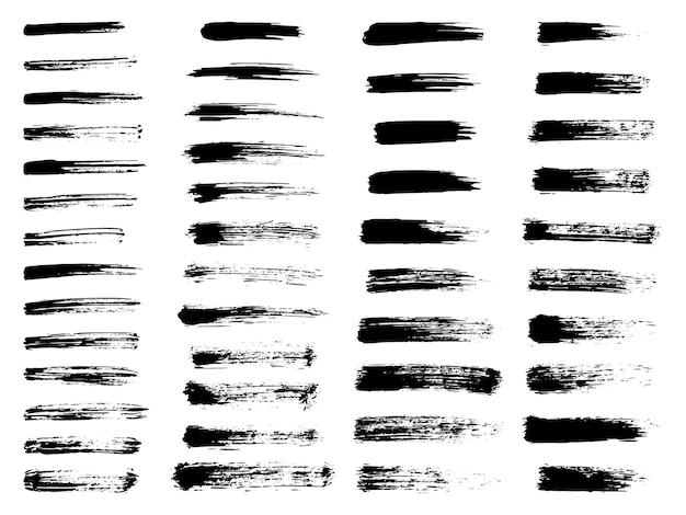 Rayures grunge peintes étiquettes noires fond peinture texture coups de pinceau vecteur conception à la main el...