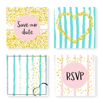 Rayures de mariage avec des confettis scintillants. ensemble d'invitations. coeurs et points d'or sur fond rose et menthe. concevez avec des rayures de mariage pour une fête, un événement, une douche nuptiale, enregistrez la carte de date.