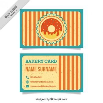 Rayures vintage carte de boulangerie avec beigne