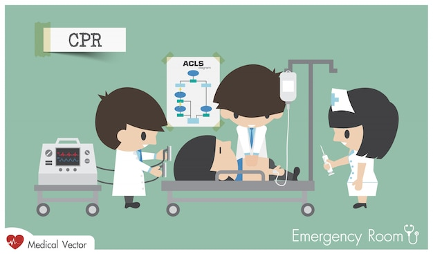 Rcr dans la salle d'urgence