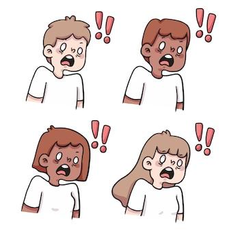 Réaction choquée des gens mis illustration de dessin animé mignon