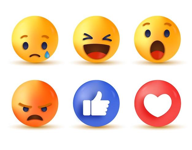 Réaction des médias sociaux 3d - collection de réactions emoji