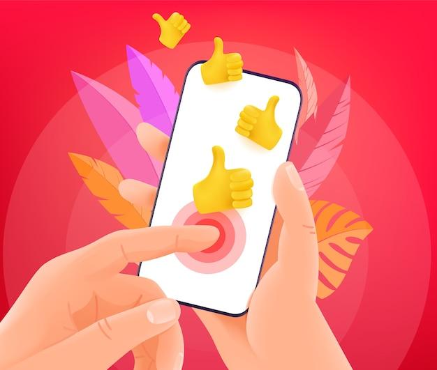 Réaction des réseaux sociaux via smartphone