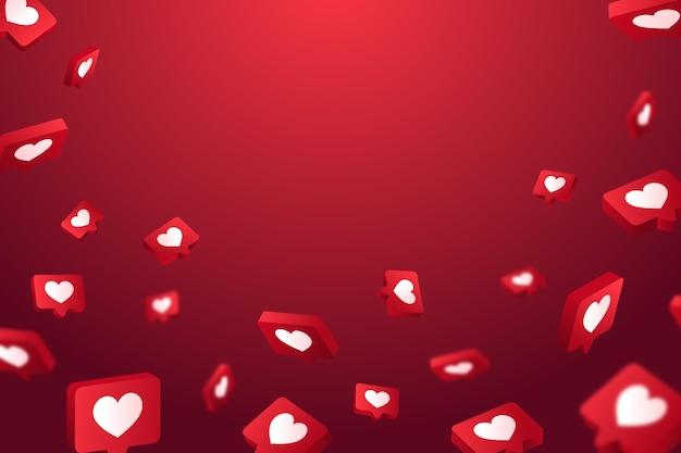 Réactions d'amour avec papier peint espace vide