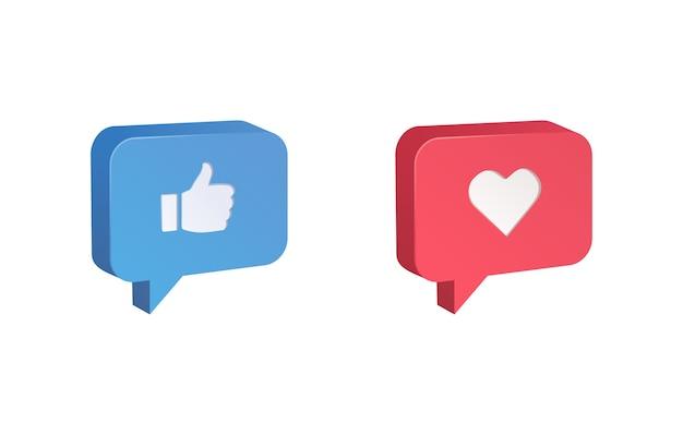 Réactions emoji de l'icône du pouce vers le haut et du cœur