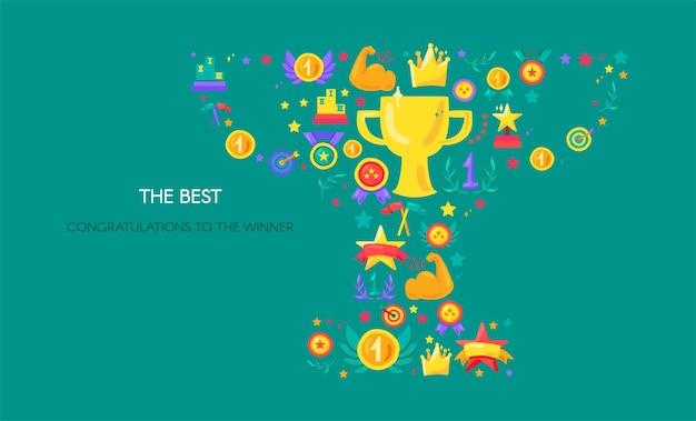 Réalisation sportive, bannière de vecteur de victoire. forme de trophée avec des symboles plats. succès, triomphe