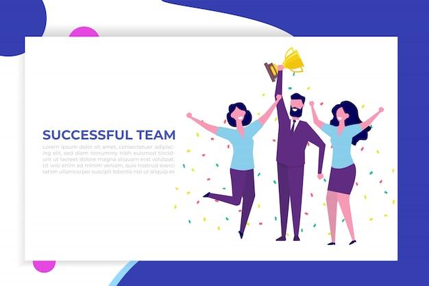 Réalisations de l'équipe commerciale, victoire de l'équipe, concept de victoire avec des personnages. les gens tiennent une tasse et célèbrent le succès.
