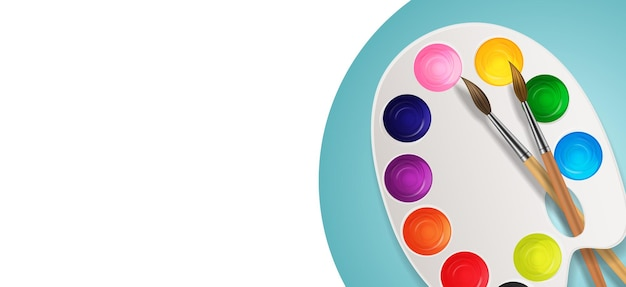 Réaliste 3d, boîtes avec pinceau et art de la palette
