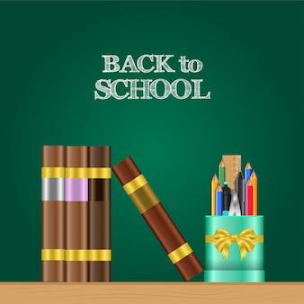 Réaliste back to school bannière et étui à crayons, livre sur la table