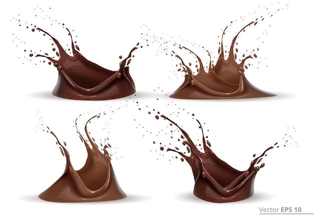 Réaliste, chocolat, éclaboussure, ensemble vecteur, conception, étiquette, arrière-plans, impression, projets