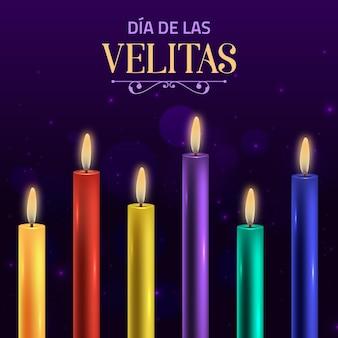 Réaliste Día De Las Velitas Vecteur gratuit