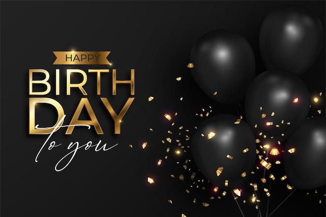Réaliste joyeux anniversaire en noir et or