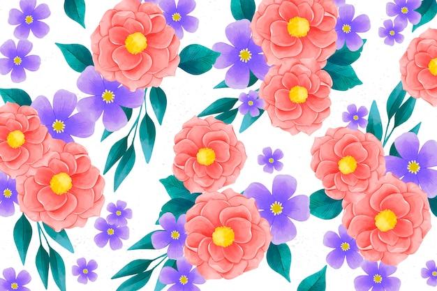 Réaliste main coloré peint fond floral