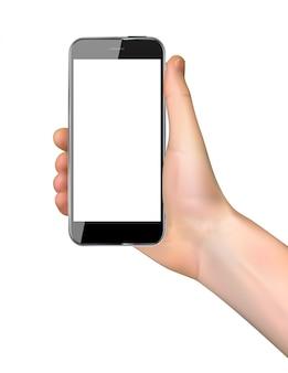 Réaliste main tenant le téléphone portable isolé sur blanc