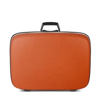 Réaliste rétro vintage en cuir marron valise closeup isolé sur fond blanc.