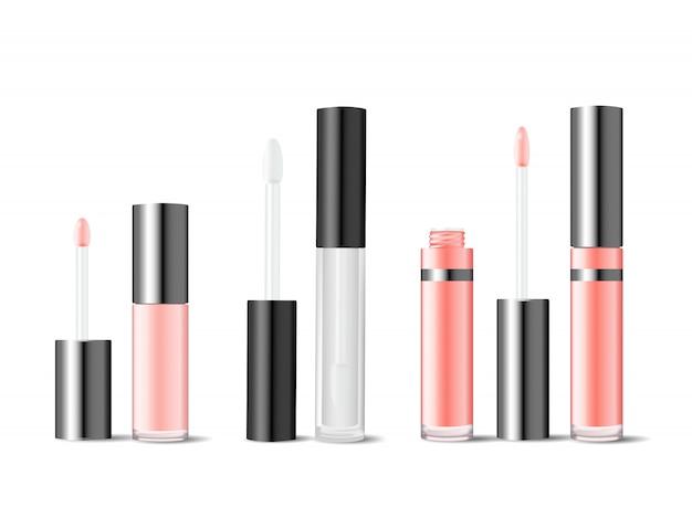 Réaliste des tubes en verre pour brillant à lèvres ou laque à lèvres.