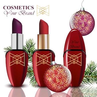 Réaliste de vecteur de cosmétiques. paquet de rouge à lèvres et de mascara. fond de boules de noël. produits détaillés colorés