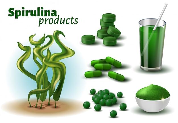 Realistic 3d spirulina products publicité