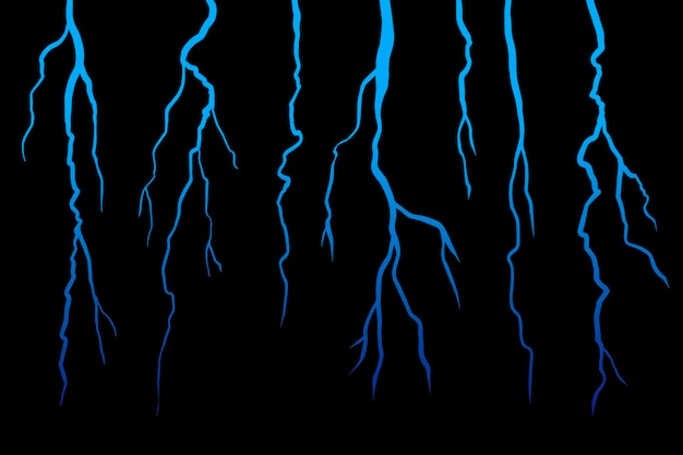 Realistick lightning sur fond noir foncé. illustration.