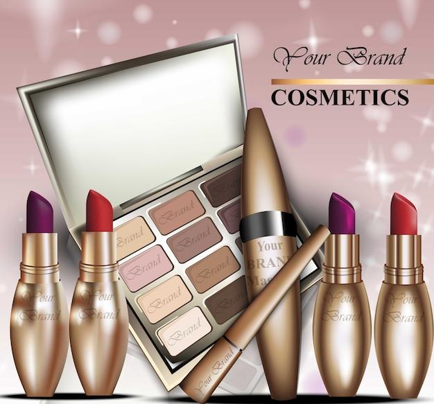 Realistick de vecteur de cosmétiques colorés. paquet de rouge à lèvres et de mascara en or. produits détaillés colorés