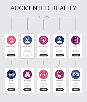 Réalité augmentée infographie conception de l'interface utilisateur en 10 étapes. reconnaissance faciale, application ar, jeu ar, icônes simples de réalité virtuelle