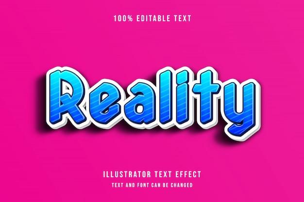 Réalité, effet de texte modifiable 3d dégradé bleu style ombre moderne bleu foncé