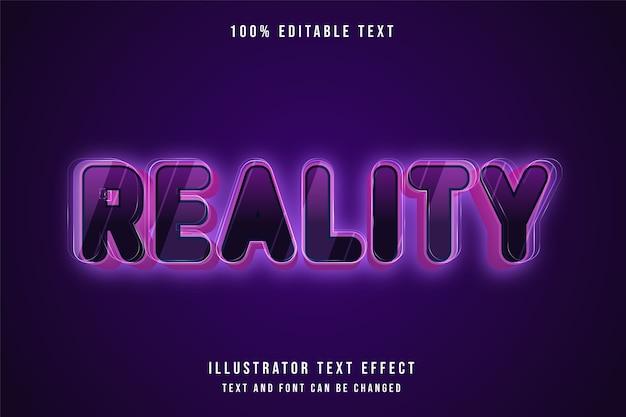 Réalité, effet de texte modifiable 3d style néon violet dégradé rose