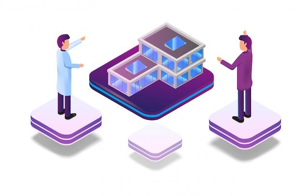 Réalité virtuelle augmentée isométrique pour architecte