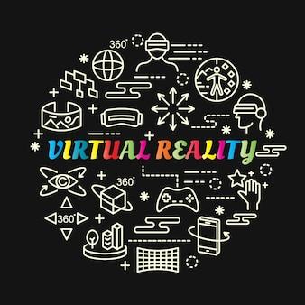 Réalité virtuelle dégradé coloré avec jeu d'icônes de ligne