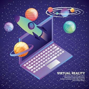 Réalité virtuelle ordinateur portable 3d système de planète de fusée solaire