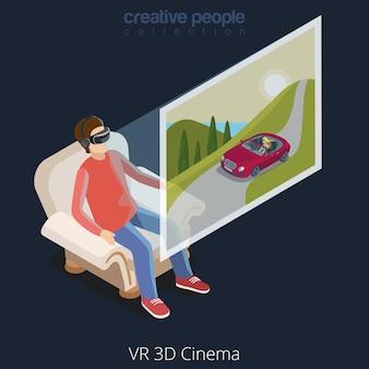 Réalité virtuelle vr glass cinema concept web illustration de style isométrique plat
