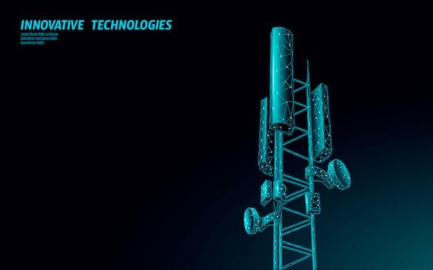 Récepteur de station de base 3d. tour de télécommunication 5g conception polygonale émetteur d'informations de connexion globale. illustration cellulaire de l'antenne radio mobile