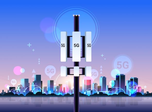 Récepteur de station de base 5g tour de communication en ligne technologie de réseau systèmes connexion concept émetteur d'informations