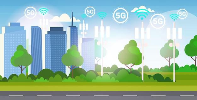 Récepteur de station de base smart city 5g communication en ligne tour réseau technologie systèmes connexion information transmetteur concept