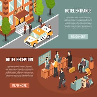 Réception de l'entrée de l'hôtel 2 bannières isométriques