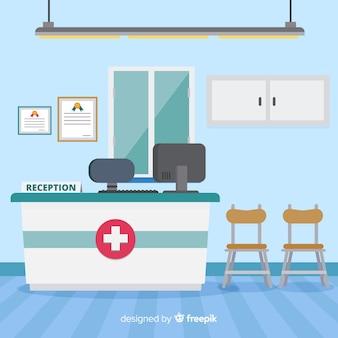 Réception hospitalière avec design plat