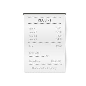 Réception imprimée de vente réaliste