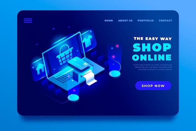 Réception de la page de destination en ligne de shopping isométrique