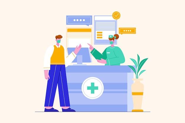 Réceptionniste d'hôpital avec scène d'illustration infirmière et patient