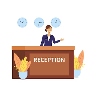 Réceptionniste d'hôtel à la réception, salle de dessin animé femme heureuse en uniforme au comptoir de la réception avec trois horloges