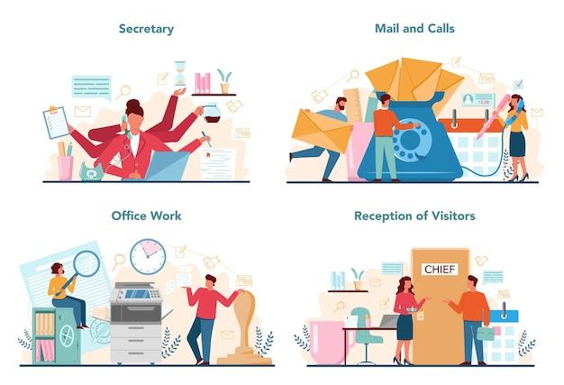 Réceptionniste répondant aux appels et aidant avec le document